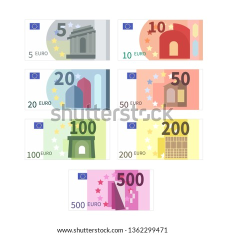 Large set of different euro banknotes. Five, ten, twenty, fifty, one hundred, two hundreds and five hundreds cupures isolated on white
