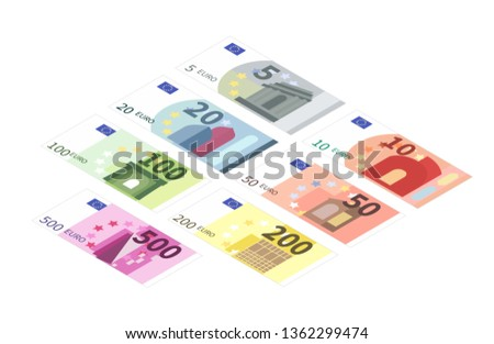 Large set of different euro banknotes in isometric view. Five, ten, twenty, fifty, one hundred, two hundreds and five hundreds notes isolated on white