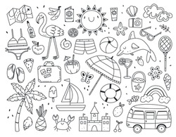 Large set of different summer items in black and white doodle style isolated on white background. Vector doodle illustration.