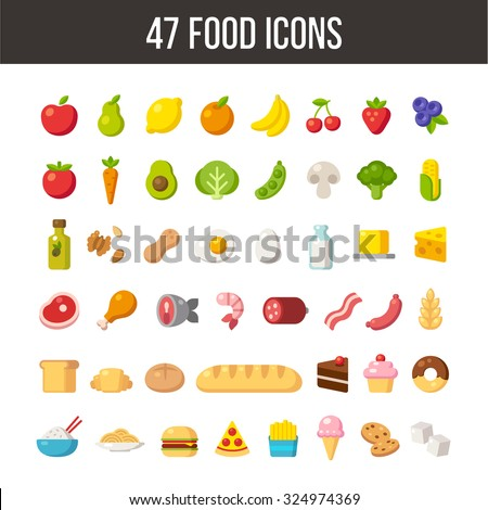 large set of flat cartoon food