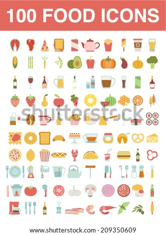large set of food and cooking