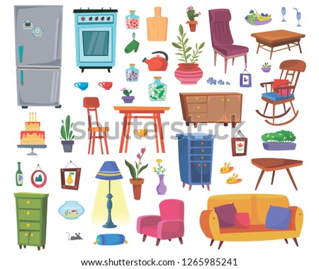 Large set of furniture and interior items. Kitchen furnishings. Living room or study. Vector in cartoon style. Сток-фото ©