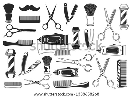 Large set of 25 haircut or barbershop icons and elements isolated on white background. 12 Barbershop and haircuts salon design elements in 3 other styles. Vector illustration
