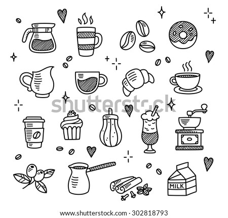 Large set of hand drawn coffee doodles: drinks, desserts, beans and other related objects.