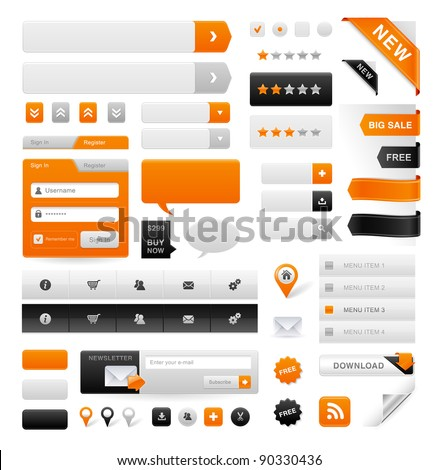 Large set of icons, buttons and menus for websites