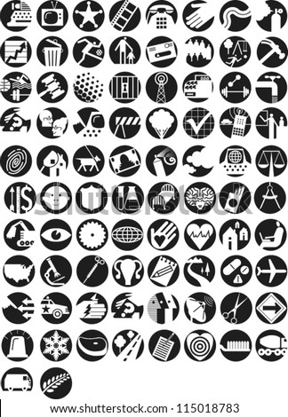 Large set of icons illustrating themes in finance, economy, government, infrastructure, health, science, technology, information, environment and communication - stock vector