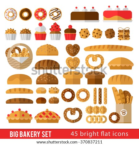 Large set of icons in a flat style on the baking theme. Rolls, bread, loaf, baguette, bagels, cookies, cakes and other baked goods