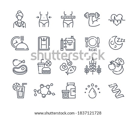 Large set of line black and white drawn diet icons depicting healthy fresh food and takeaways, tape measure, dieting, waistline and exercise, vector illustration