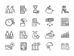 Large set of line drawing icons for pension and retirement planning with financial, banking, charts, graphs, money, old age, pension, planning and credit card over white, vector illustration