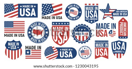 Large set of Made in USA labels, signs. USA patriotic signs. Americans banners templates. Vector illustration.