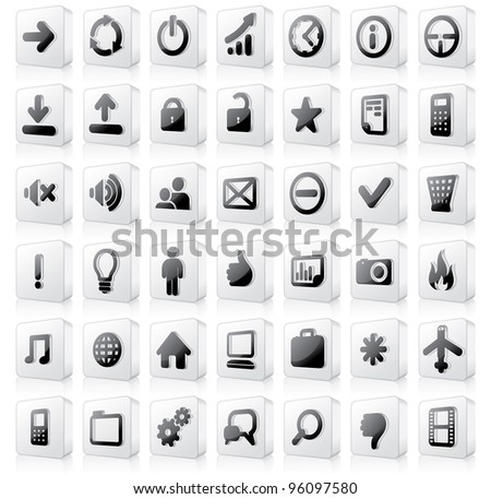 Large set of Monochrome 3D Vector Buttons or Interface Icons