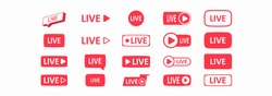 Large set of red buttons for streaming, live broadcast, blog, stream. Modern technologies for the design of video content, news feeds. Flat icons. Vector illustration