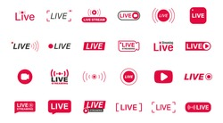 Large set of Red live streaming icons. Live stream, broadcast. Lives video streaming. Social media live badge. Online webinar, Broadcasting. Template for tv, shows, movies and live performances