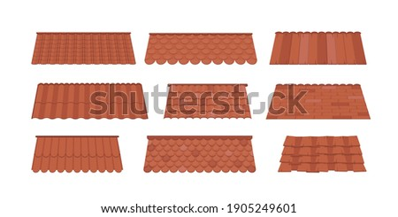 Large Set of Roofs for the design of summer cottages. Brown tile roof isolated on white background. Cartoon style. Vector illustration.