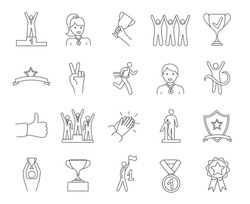 Large set of sketched Winners icons showing trophies, winners on the podium, clapping and people passing the finish line, black and white line drawn vector illustrations