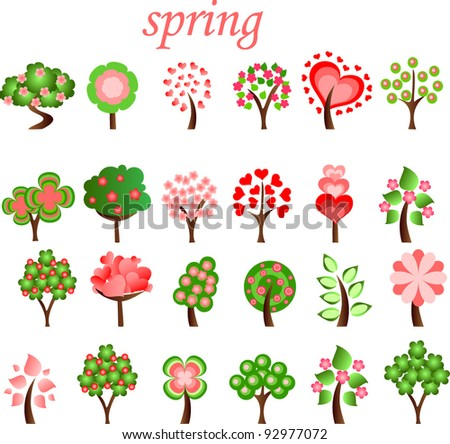 Large set of spring trees, the vector