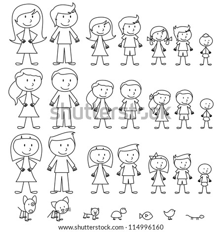 Large Set of Stick Figure People and Pets