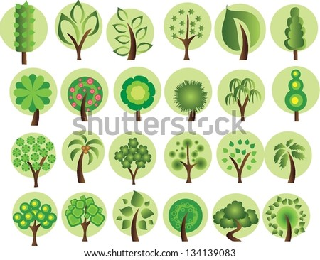 large set of summer trees  the
