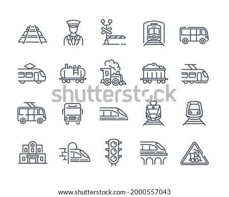 Large set of 25 transport icons with trains and trams showing assorted rolling stock, conductor, engines, railway track and tunnels, outline line drawn vector illustration for design elements ストックフォト ©