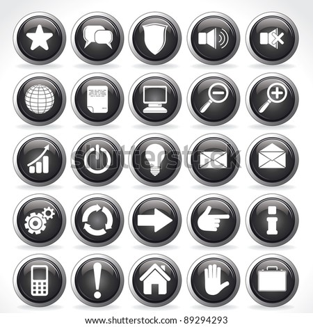 Large set of Various Monochrome Buttons, Icons eps10 vector