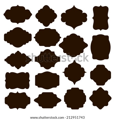 Large set of vector black silhouette frames or cartouches for badges in ornate classical curved and rounded symmetrical designs and shapes