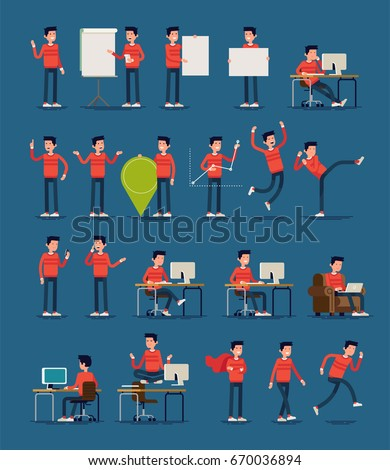 Large set of vector infographics casually clothed spokesman character poses and gestures. Random caucasian guy in red sweater in diverse settings. Ideal for motion, graphic and web design projects