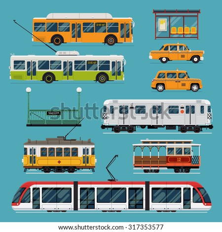Large set of vector mass rapid transit urban vehicles | Collection of municipal transport buses, taxis, subway, tram cars in flat design. Ideal for infographic brochures, web and motion design