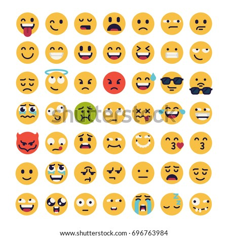 large set of vector smileys
