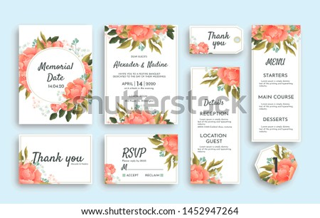 Large set of wedding stationery with pink roses including different cards. RSVP, Thank You, Menu, Reception details invitation and reminder notice #1452947264