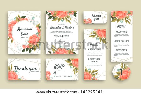 Large set of wedding stationery with pink roses including different cards. RSVP, Thank You, Menu, Reception details invitation and reminder notice #1452953411