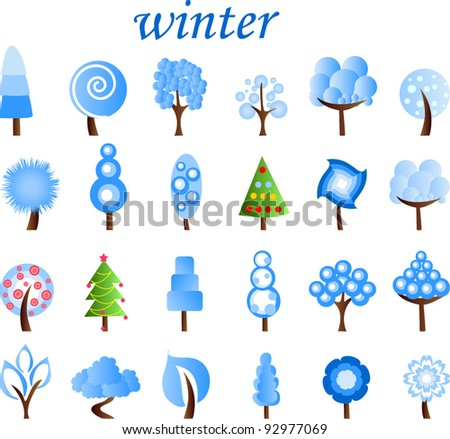 Large set of winter trees, the vector
