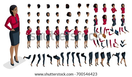Large set people's emotions in isometric to create own character. 3d business African American woman with a set of emotions and gestures of hands. For vector