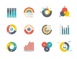 large set pie and bar charts vector templates for infographics