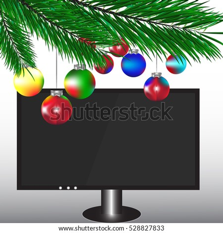 large tv with pine branches and