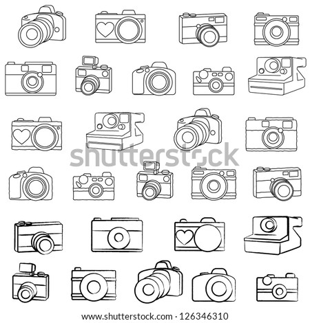 Large Vector Camera Set with Three Different Drawing Styles