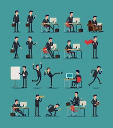 Large vector set of businessman character poses, gestures and actions. Office worker professional standing, walking, talking on phone, working, running, jumping, searching, and more.