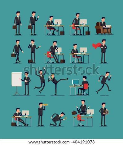 large vector set of businessman