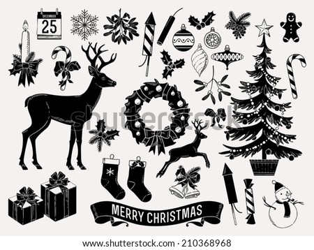 large vector set of christmas