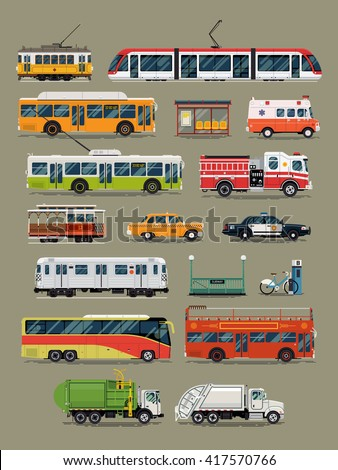 Large vector set of public, service and emergency city transport vehicles. Mass transit and special urban transport icons. Taxi, police car, ambulance, tramway car, subway, cable car, garbage truck