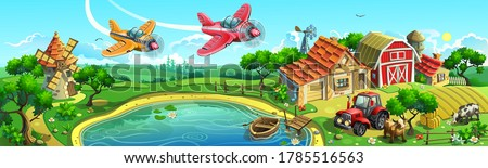 Large village in the countryside. Farm with field, houses, shed, mill, tractor, cows and aircrafts.