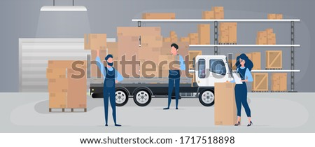 Large warehouse with drawers. Movers carry boxes. The girl with the list checks availability. Big truck. Carton boxes. The concept of transportation, delivery and logistics of goods. Vector.