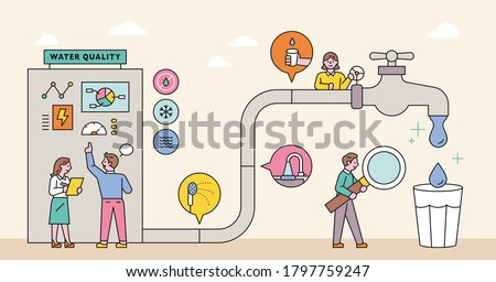 Large water pipe system and management experts. flat design style minimal vector illustration.