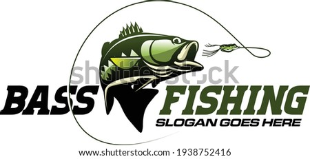 largemouth bass fishing logo. unique and fresh largemouth fish jumping out of the water. great to use as your bass fishing activity.  Zdjęcia stock ©