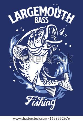 largemouth bass fishing t-shirt design