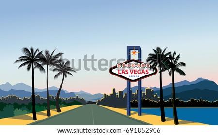 Las Vegas city skyline. Travel USA background. Landscape with Las-Vegas sign