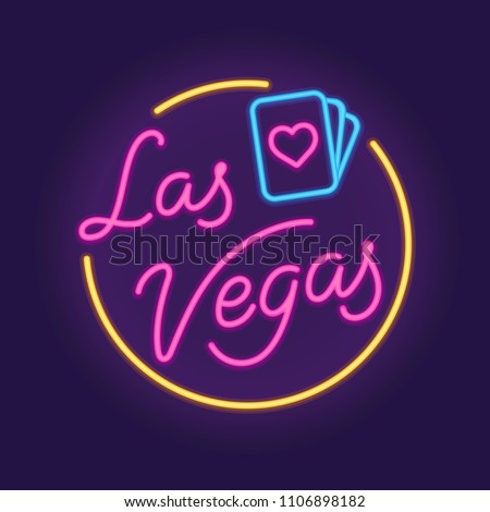 Las Vegas retro neon sign with playing cards. Vintage style vector illustration.