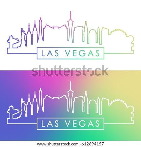 las vegas skyline colorful