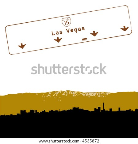 stock vector : Las Vegas skyline coming from the East