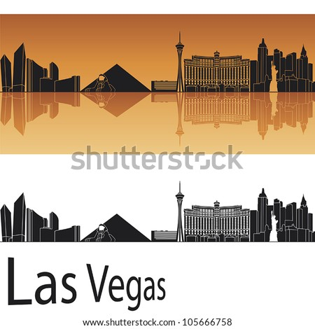 las vegas skyline in orange