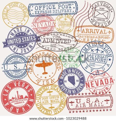 las vegas usa stamp vector art...